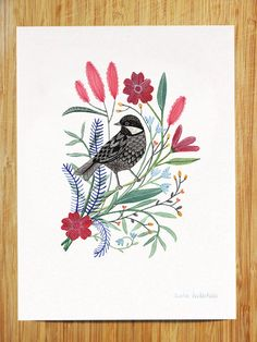 Spring Bird with Flowers Art Print 8x10 by AmeliaHerbertson