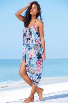 a1aced5009872 Straps V-neck Floral Print Slit Beach Dress 2016 Fashion Trends