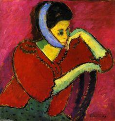 """Mujer con vendaje en la cabeza (""""Woman with head-bandage""""). Alexej von Jawlensky. 1909. Localización: colección particular. https://painthealth.wordpress.com/2017/02/16/mujer-con-vendaje-en-la-cabeza/"""