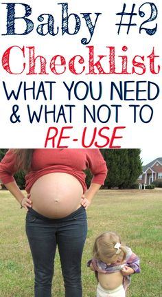 Pregnant with Baby Check out this SUPER helpful second baby checklist for second time moms! What NOT to reuse when preparing for baby 2nd Pregnancy Announcements, Baby Number 2 Announcement, Second Child Announcement, Getting Ready For Baby, Preparing For Baby, Second Baby Showers, New Baby Checklist, Baby Number 3, Before Baby