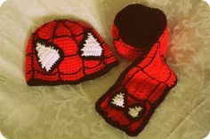 Ravelry: Spiderman hat scarf set pattern by Natalie Tanner Standridge just thought you might like! Bonnet Crochet, Crochet Beanie, Knit Or Crochet, Cute Crochet, Crochet Cupcake, Crochet Kids Hats, Crochet Scarves, Crochet Clothes, Crochet Character Hats