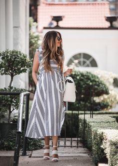 of July Striped Dress Teacher Dresses, Teacher Outfits, Teacher Clothes, Teacher Style, Teacher Diva, Trendy Outfits, Fall Outfits, Mom Style, Striped Dress