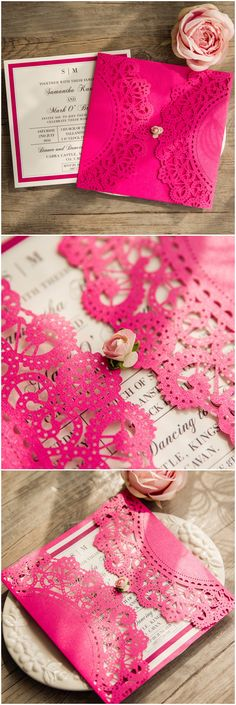 shades of pink laser cut wedding invitations with free rsvp cards @elegantwinvites