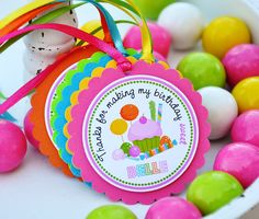 Sweet Shoppe/Candyland party hang tags. Set of 12. Etsy.