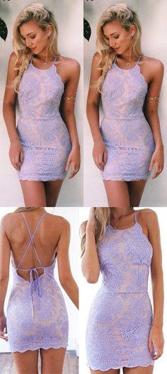 Lace Homecoming Dress, Short Prom Dresses For Teens M3436