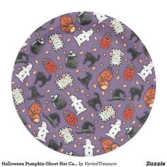 Halloween Pumpkin Ghost Hat Cat Kettle Paper Plate