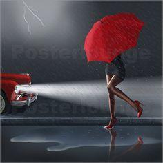 'Rainy day' by Monika Juengling Art Photography Portrait, Portrait Art, Vintage Photography, Red Umbrella, Under My Umbrella, Moda Rock, Art Vintage, Poster Prints, Art Prints