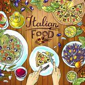 Comida italiana sobre a madeira textu — Vetor de Stock