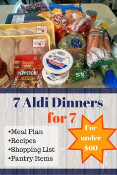 Here's and Aldi meal plan including seven Aldi dinners recipes for a large family. We have seven in our family including three teens and one tween (and a toddler) so we go through a lot of food. If you have all young kids, you might be able to feed more. Cheap Meal Plans, Aldi Meal Plan, Cheap Easy Meals, Inexpensive Meals, Cheap Dinners, Frugal Meals, Budget Meals, Budget Recipes, Meal Prep