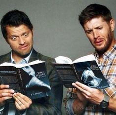 Cas & Dean reading 50 shades of Grey ------ love the expressions!!!!