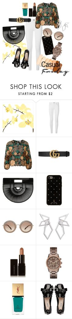 """Casual Friday"" by trishla-jain on Polyvore featuring Burberry, RED Valentino, Gucci, Cult Gaia, Kate Spade, Miu Miu, W. Britt, Illamasqua, Michael Kors and Yves Saint Laurent"
