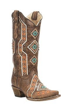 Corral Boot Company Women's Brown with Colorful Aztec Embroidery and Studded Details Western Snip Toe Boots | Cavender's