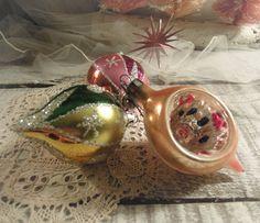 Three Vintage Christmas Hand Painted Glass / One by vintageaddie