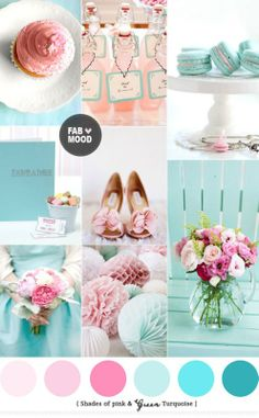 Turquoise Pink Wedding Colors