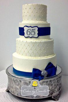 65th Anniversary Cake Wedding Anniversary Cake Navy Blue Silver