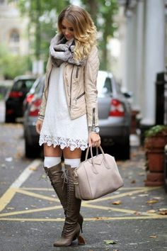 Love love this outfit. The textured dress, thigh high socks and boots and that cool cream motor jacket!