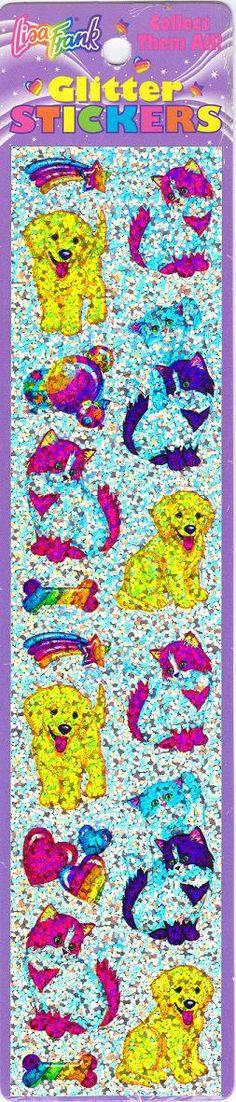 Lisa Frank Puppies & Kittens Glitter Sticker Strip.
