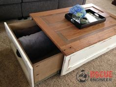 Stylish coffee table plans for your next project # coffee table tarpaulin # stylish. Diy Storage Coffee Table, Kids Table With Storage, Coffee Table With Hidden Storage, Door Coffee Tables, Stylish Coffee Table, Coffee Table With Drawers, Coffee Table Plans, Rustic Coffee Tables, Coffee Table Design