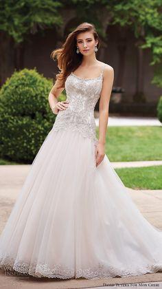 david tutera mc spring 2017 bridal thin strap scoop neck heavily embellished bodice drop waist romantic a  line wedding dress chapel train (117279) mv