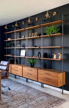 house and decor Shelves, Interior Inspiration, Home, Modern Bookshelf Design, Home Office Shelves, Office Interior Design, Home Interior Design, Modern Interior, Office Design