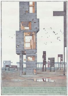 City of towers Sergey Mishin 2013, ink on paper, water-colour,...