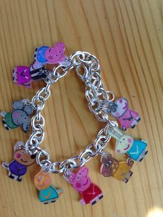 Peppa pig charm bracelet with shrinky dink paper!