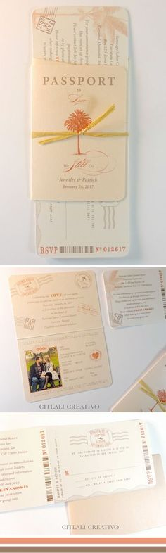 Passport Style & Boarding Pass Destination Wedding Invitations in Blush Coral & wrapped in raffia or twine - made to order by citlalicreativo.com
