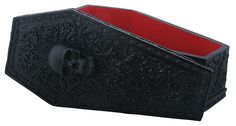 """This beautifully crafted coffin box is crested with a skull and lined in blood red. Ideal for your necromantic desires and to hold relics of the netherworld. L: 8.75"""" x W: 4.25"""" x H: 3.5"""""""