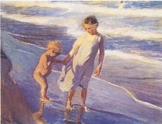 Sorolla's 'Valencia, Two children on the beach.' Please wait for the image to download