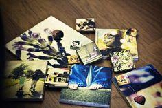 modge podge + tiles + printed photos = wall art