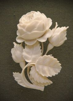 z- Carved Ivory Rose Bouquet Brooch, mid-19th C