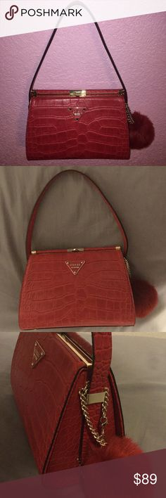 Red puffball purse Perfect condition New without tags  Straps are adjustable Puffball is removable Small sized purse with lots of room Originally retails at $98  Sold out in store & online   Trades not accepted Offers are welcome Guess Bags Shoulder Bags