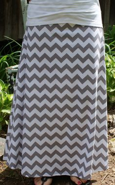 Womens Maxi Skirt chevron stripe modest long by ModestSwimming, $35.00