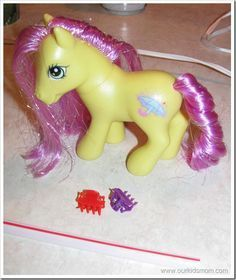 getting my little pony's mane/tail and doll hair smooth again. Wish I knew this when I was a kid, it would have made Barbie look a little less like a naked hooker all the time!! Lol
