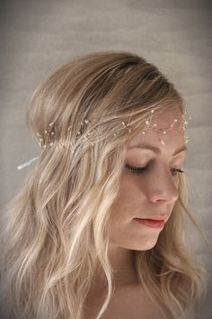 Petite Seed Pearl Hair Vine Halo w/ Brass Wire. Bridal Hair Vine with Button Pearl Clusters. Wedding Crown Hair Accessory. Boho Hair Wreath.