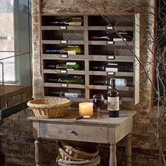 """Recycled Wood Wine Rack - Holds 6 bottles (two wine racks shown in image). 28""""l x 14""""h x 4.5""""d"""