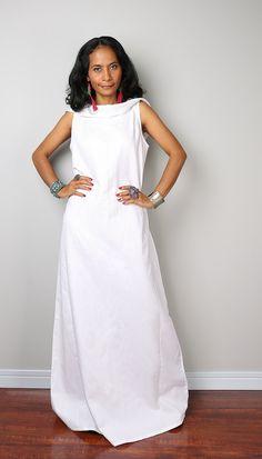 Lin Maxi Dress / robe blanche sans manches à capuche : par Nuichan