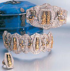 A rare art deco Egyptian revival diamond bracelet, brooch and ring, circa 1920