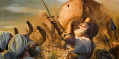 Priests blow ram's horns, Joshua shouts a war cry, and Jericho's wall starts to fall down Online Library, In Ancient Times, Bible, Painting, Cry, Youtube, Fall, Documentaries, Walls