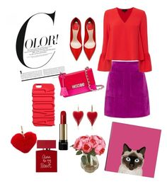"""""""Color!"""" by mercantichiara on Polyvore featuring L.K.Bennett, Exclusive for Intermix, Moschino, Lancôme, Bella Freud, iCanvas and Rebecca Minkoff"""