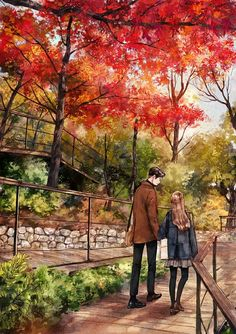 Autumn of love - Travel tips - Travel tour - travel ideas Paar Illustration, Couple Illustration, Digital Illustration, Cute Couple Art, Anime Love Couple, Oil Painting Flowers, Abstract Flowers, Art Flowers, Nursery Canvas Art