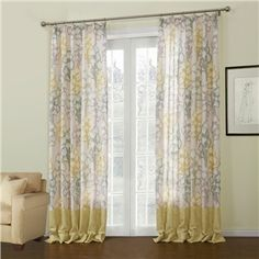 ( One Panel )  Rococo Yellow Floral Pattern Polyester & Linen Room Darkening Curtains-649