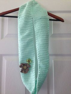 Light Green Knitted Scarf by BossyChicks on Etsy