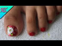 DECORACIÓN DE UÑAS PARA PIES FLOR FÁCIL DE HACER♥ - FLOWER NAIL ART - NLC - YouTube Acrylic Nail Shapes, Acrylic Nails, Cute Pedicures, French Pedicure, Flower Nail Art, Dope Nails, Toe Nail Designs, Pretty Toes, Toe Nail Art