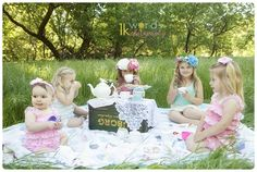 Little Girls Stylized Outdoor Tea Party Photo Shoot #tea_party #outdoor #flower_crown #photo_shoot www.worth1kwords.com