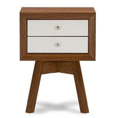 Warwick is a small-sized end table packed with modern details: two drawers, beveled edges, a showstopper of a base, and an overall mid-century modern aesthetic. Two-tone in walnut and white faux wood grain paper veneer finishes off the engineered wood fra Studio Furniture, Unique Furniture, Bedroom Furniture, Furniture Decor, Furniture Design, Outdoor Furniture, White Nightstand, 2 Drawer Nightstand, Nightstands