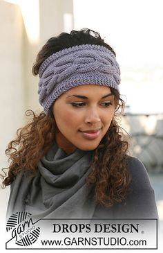"""Ravelry: 126-24 Knitted head band with cables in """"Nepal"""" pattern by DROPS design"""