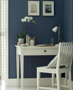 white beadboard blue paint | blue beadboard walls, nautical prints, white floors ... | For the Home