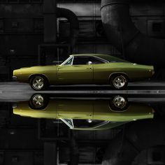 1968 Dodge Charger R/T Full Reflection - Beautiful Photos of Classic and Vintage Cars Mopar, Muscle Cars Vintage, Vintage Cars, Retro Cars, Dodge Trucks, Dodge Cummins, Chevrolet Trucks, Dodge Charger 1968, My Dream Car
