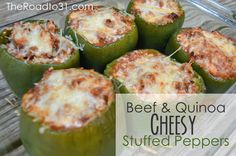 Beef & Quinoa Cheesy Stuffed Peppers Recipe - This is a Family - AND KID! - Favorite!